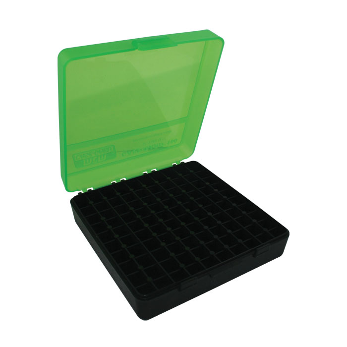 MTM 100 Round Flip Top Handgun Ammo Box (Clear Green/Black) 9mm