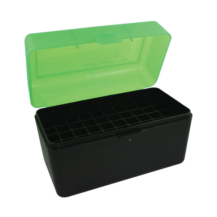 MTM 50 Round Flip Top Rifle Ammo Box (Clear Green/Black) 270 Win, 30